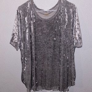 Faded Glory silver crushed velvet shirt (size 3x)